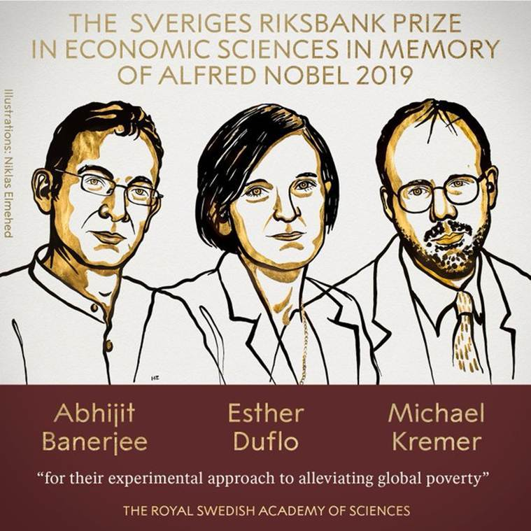 由印度學者班納吉、法國學者杜芙若及美國學者克雷默,共同奪得今屆諾貝爾經濟學獎。網圖