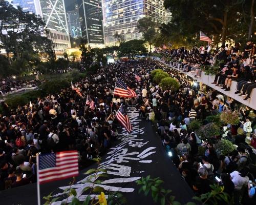 促美國通過人權民主法案 大會:13萬人參與遮打花園集會