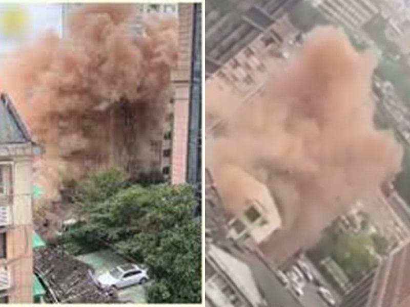 施工人員不慎碰電纜致巨響停電,酒店起火濃煙滾滾。網圖