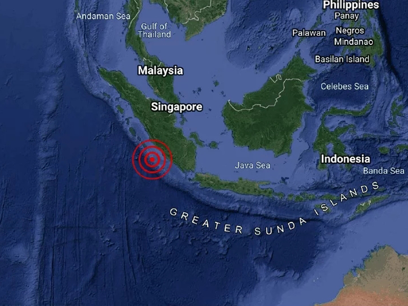 印尼蘇門答臘南部5.9級地震。(網圖)