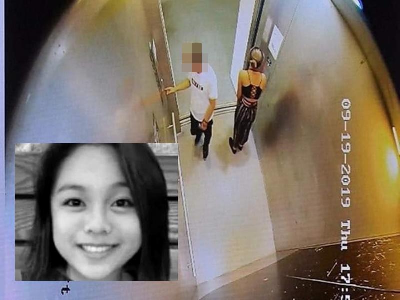 網傳高清CCTV畫面,白衣男與陳彥霖同處升降機。網上圖片