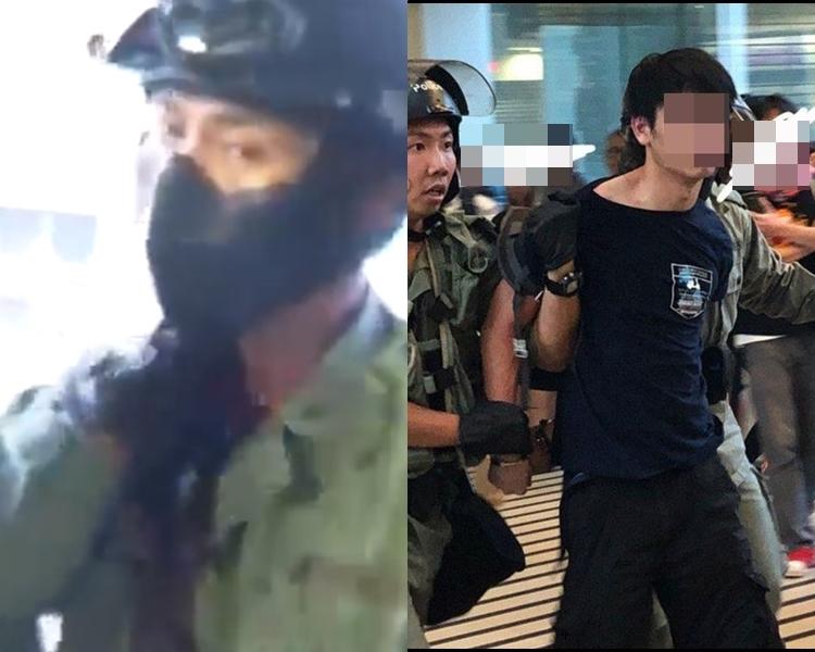 被告許添力(右)涉於觀塘站割警員頸。 資料圖片