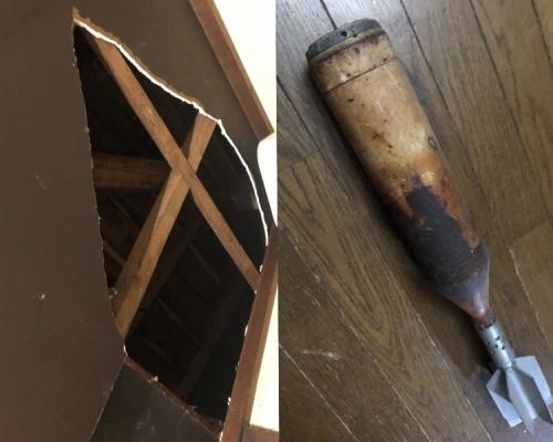 【海貝思襲日】日網民驚傳家中天花板破了掉下未爆炮彈