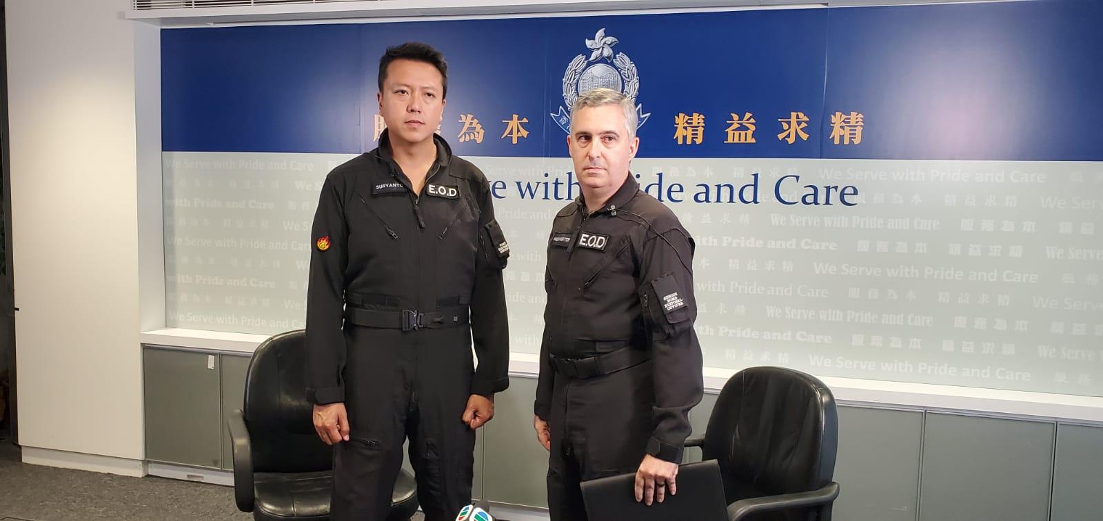 爆炸品處理課警司李展超、高級警司馬偉德會見傳媒。