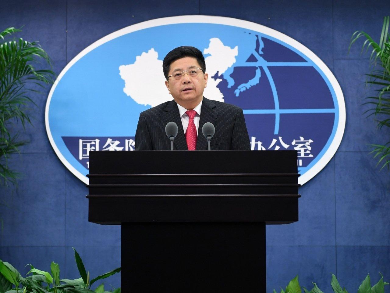 國台辦發言人馬曉光批評,台灣民進黨當局企圖破壞香港的繁榮穩定。 新華社圖片