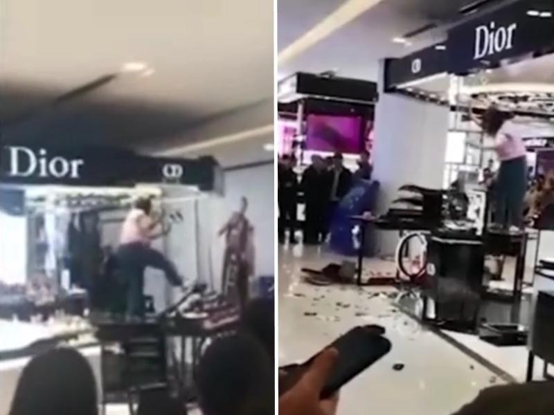 河北一名女子在商場的「Dior」化妝品專櫃大肆破壞。影片截圖