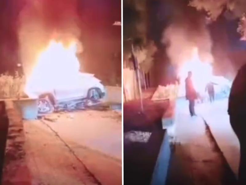 河北一輛私家車與路右側護樹底座發生碰撞起火,車上4人死亡。 影片截圖