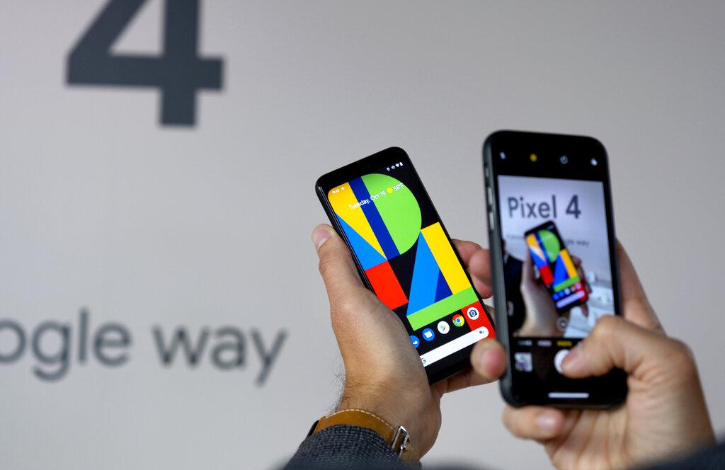 美国Google集团周二在纽约举行的发布会上,介绍新一代智能手机Pixel 4。