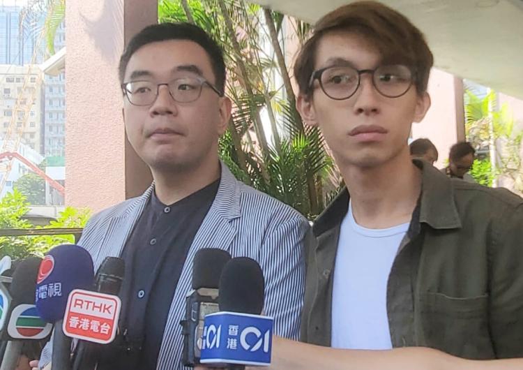 民陣副召集人黎恩灏(左);陳皓桓(右)。