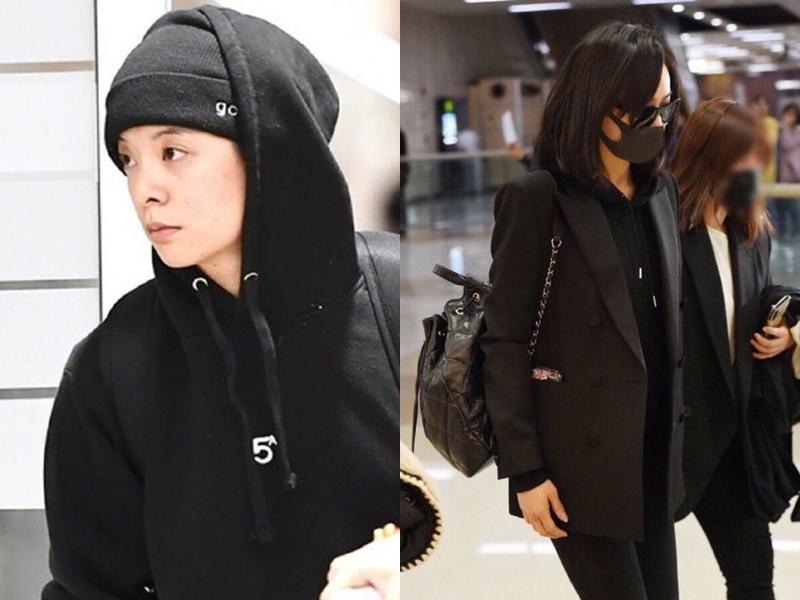 Victoria(右)與Amber(左)趕回首爾。網圖