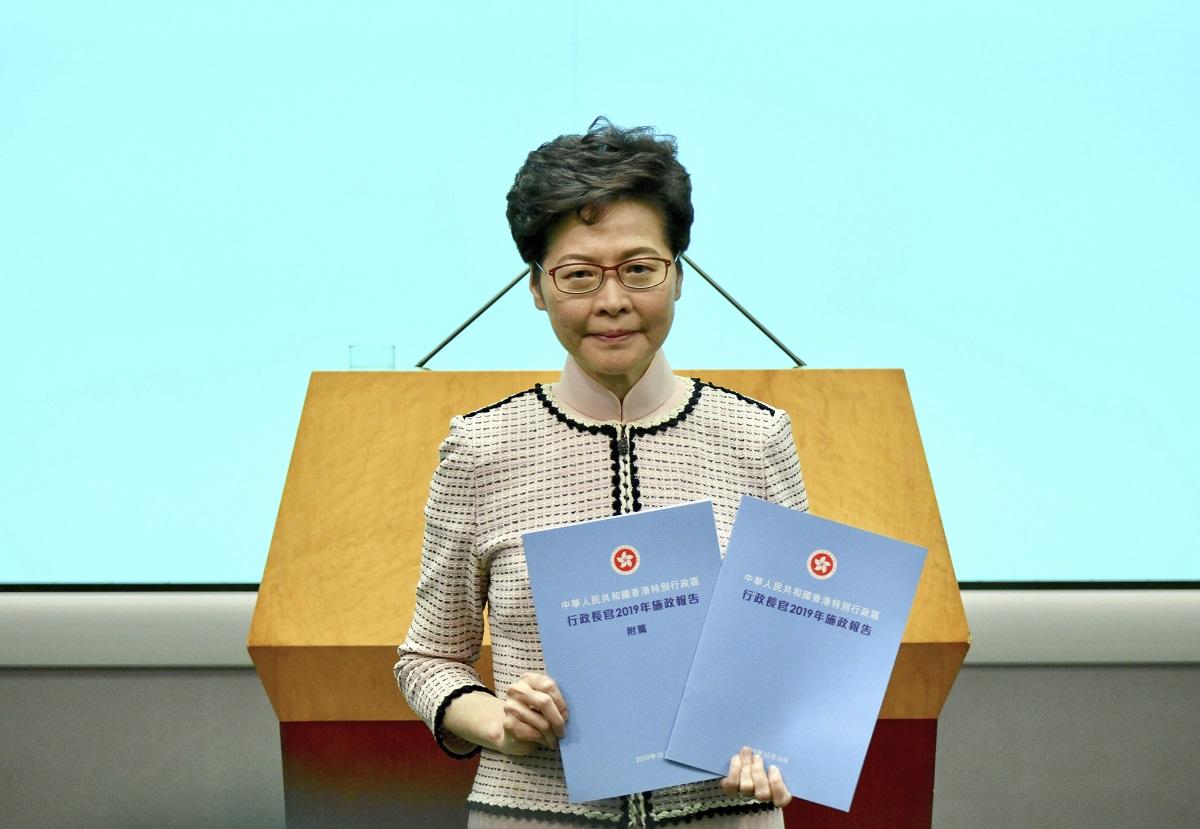 林鄭月娥推出第三份施政報告。資料圖片
