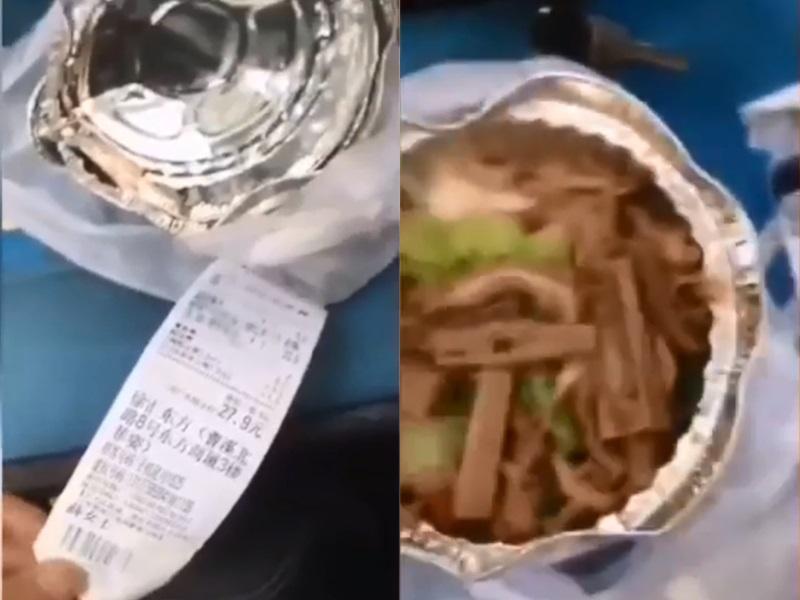 不滿食客要求送上樓,外賣男連吐4次口水落食物報復。影片截圖