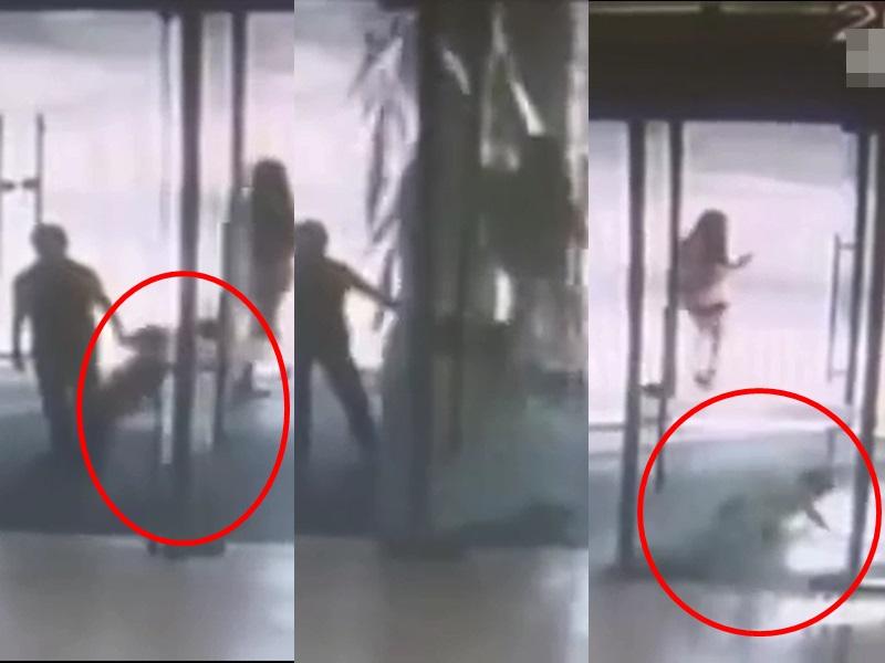 湖南6歲男童用力推門致玻璃爆裂後受傷,家屬向商場索賠遭拒。影片截圖