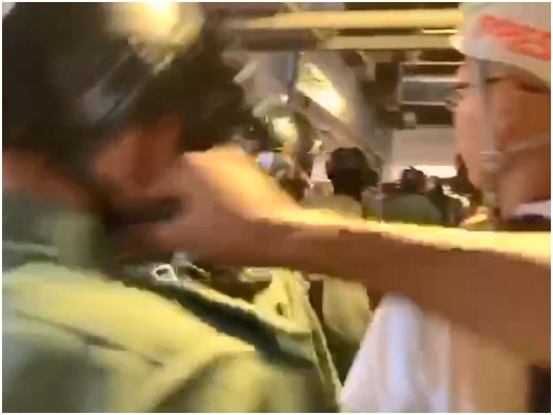 該名警員在觀塘站被割頸。