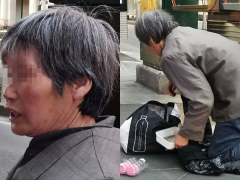 中国职业乞丐惊现澳洲墨尔本街头。网图