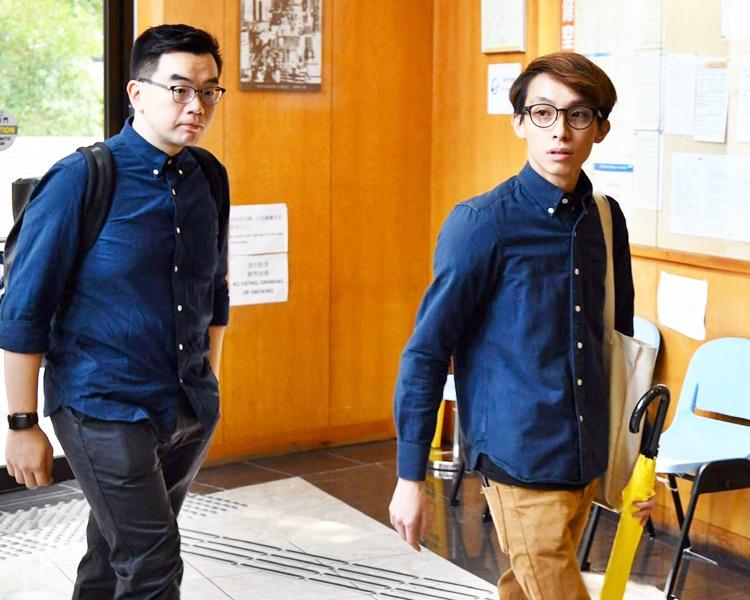 民陣副召集人陳皓桓(右)及黎恩灝出席聆訊。