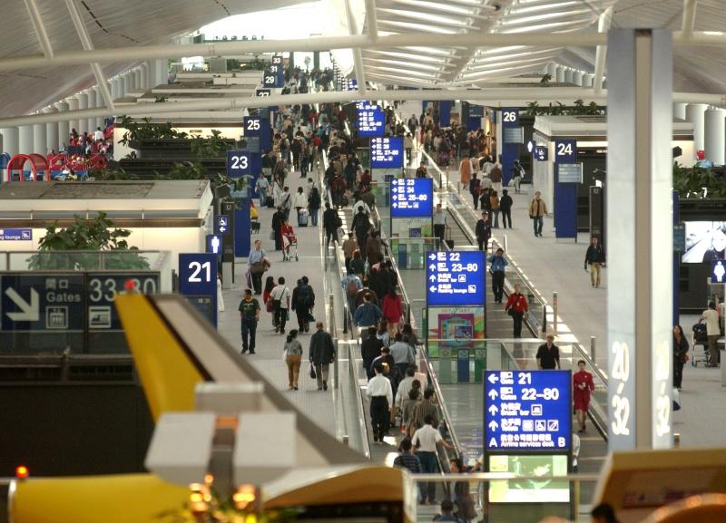 機場客運量跌12.8%。資料圖片