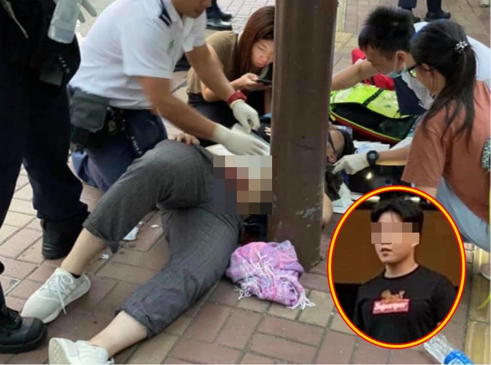 大埔救恩書院就讀中六的19歲學生熊家瑋遭劏肚,小圖為行兇者。 資料圖片