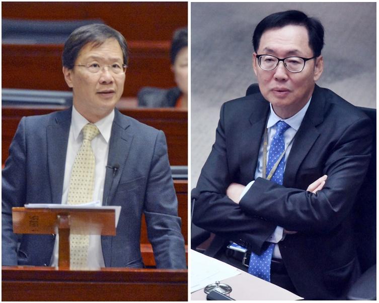 郭家麒(左)批評陳健波處理撥款時「皇帝唔急太監急」。資料圖片