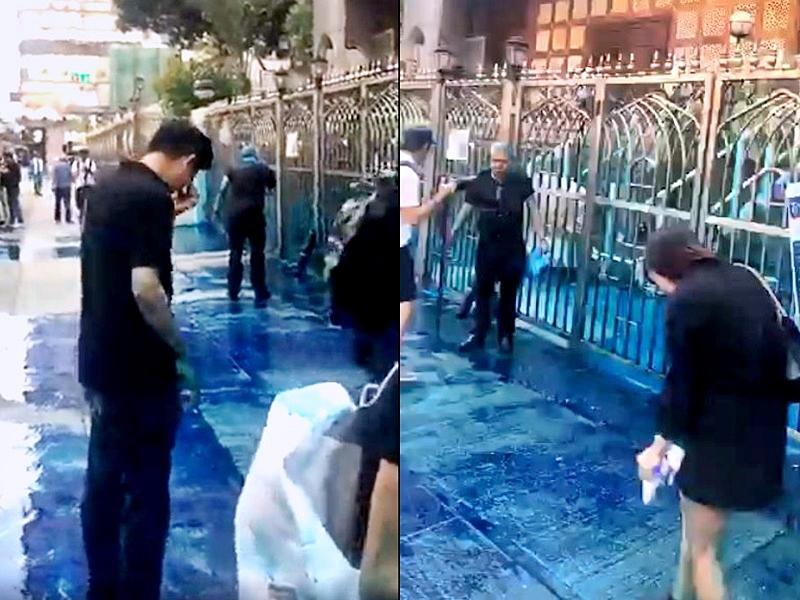 市民在清真寺外被藍色水射中。譚文豪facebook影片截圖