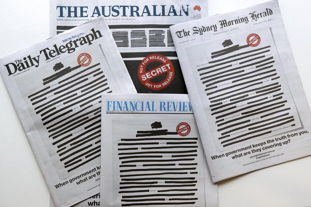 多份大報章對政府打壓及限制新聞自由提出抗議。 AP