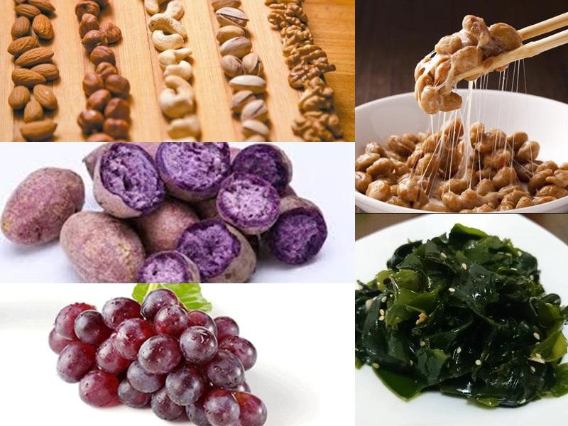 紫薯、葡萄、海帶、納豆和堅果可以有助於改善心血管狀態。網圖