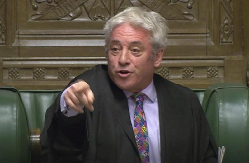 英國下議院議長白高漢拒絕表決首相約翰遜提交的脫歐新協議。AP
