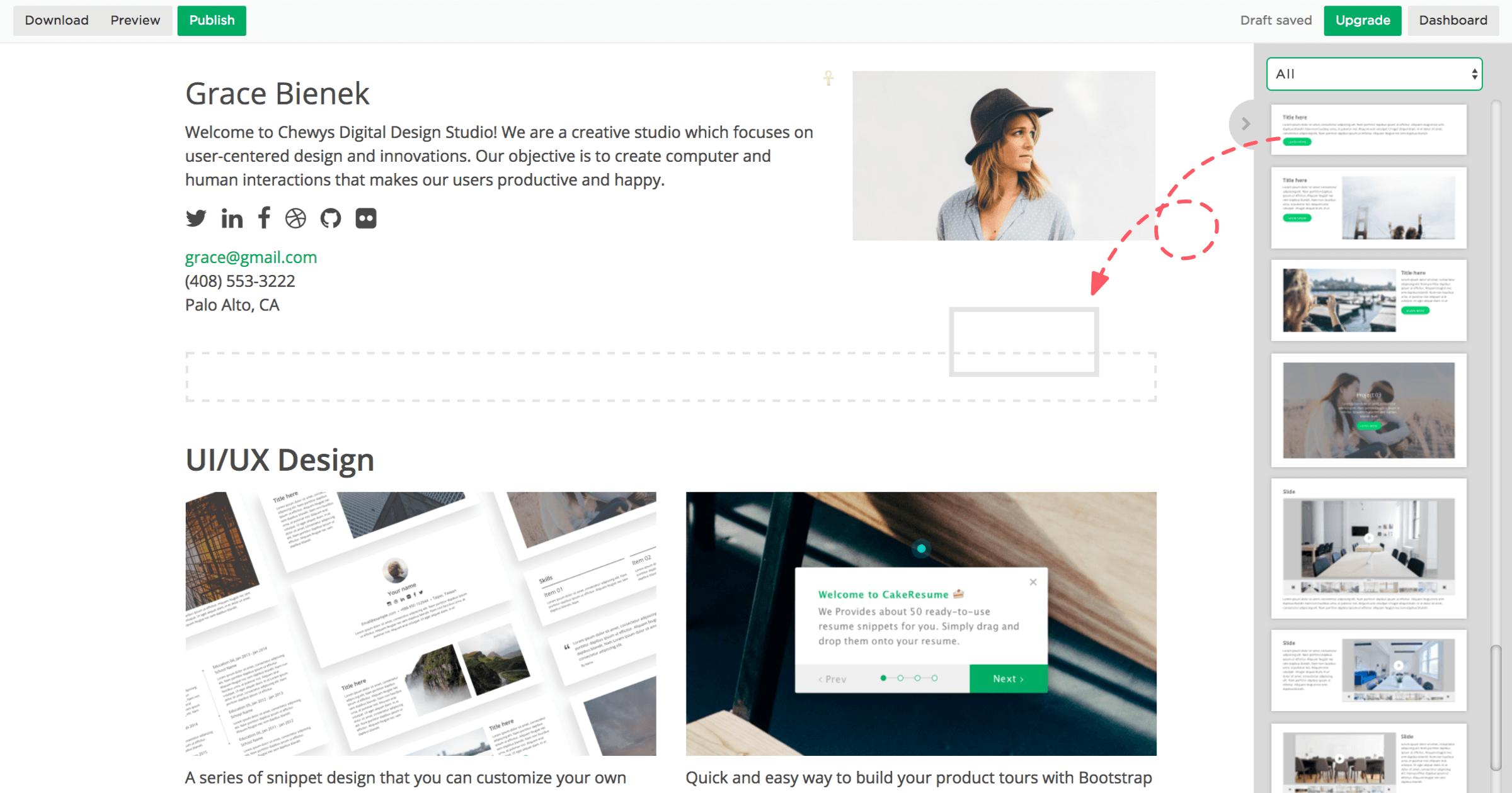 比起傳統履歷,平台上履歷更像一個專屬個人網站。(網上圖片)