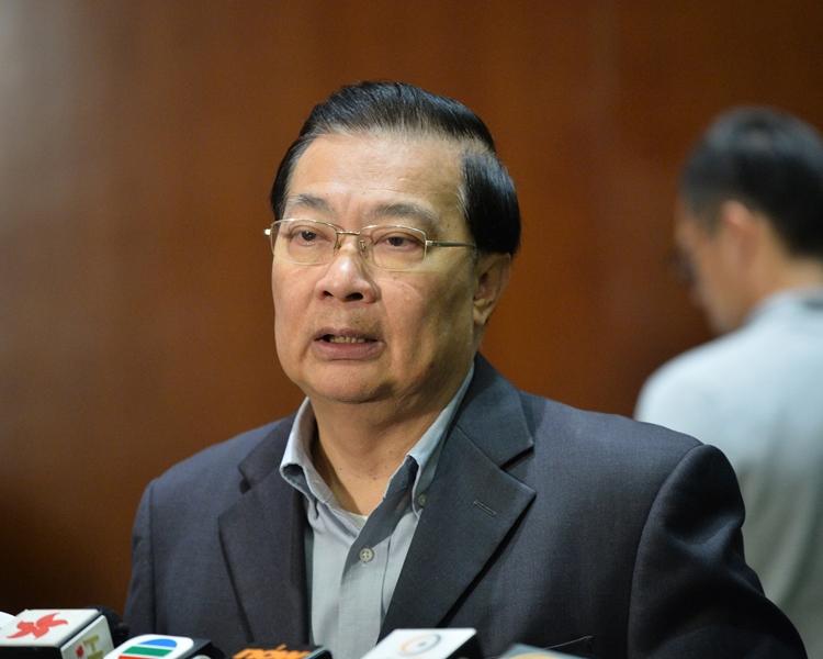 譚耀宗批評台灣以政治凌駕司法處理陳同佳案 。 資料圖片