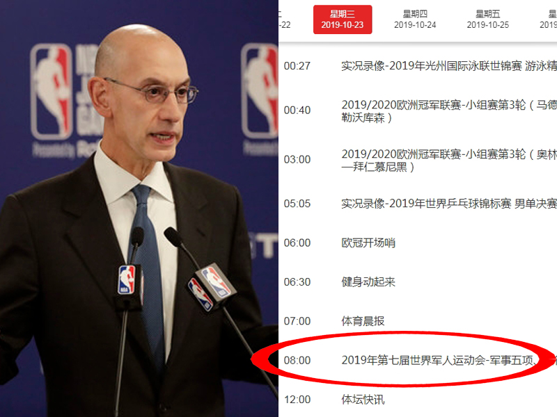 阿當施華(左)拒絕道歉稱要捍衛言論自由,表態惹官方批評。央視節目表已改為中國軍運會比賽。(AP/網圖)