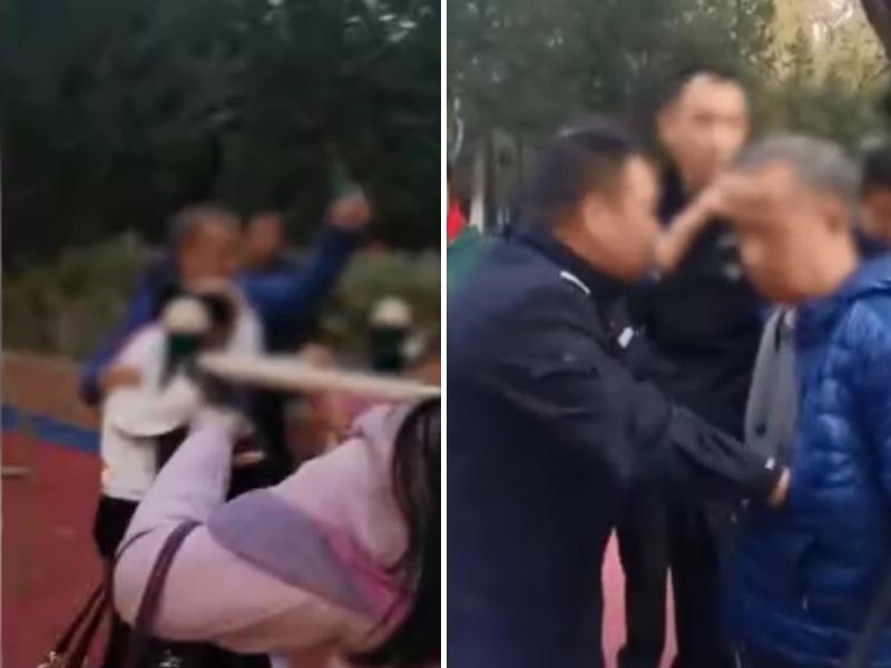 老翁手持鉗子故意毆打廣場內遊玩的學生及家長。影片截圖