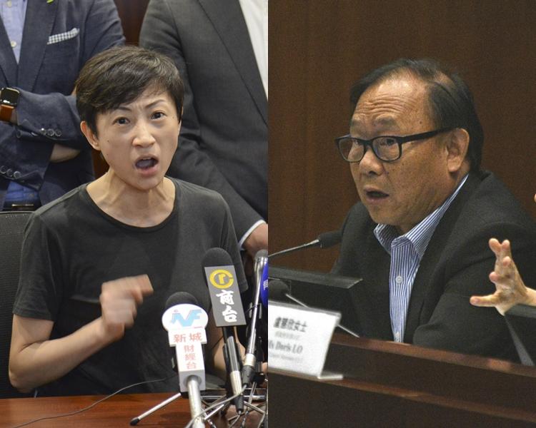 陳淑莊(左)斥梁志祥(右)不知禁蒙面法已生效「簡直係奇蹟!」。 資料圖片