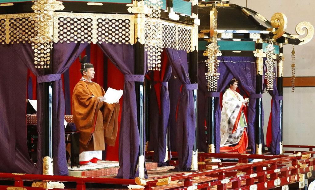 日皇德仁皇宮舉行「即位禮正殿之儀」。AP圖片