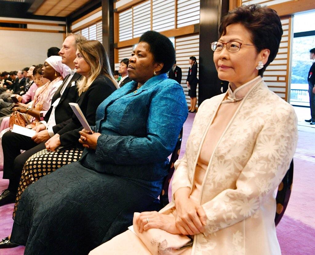 林鄭月娥出席典禮。AP圖片
