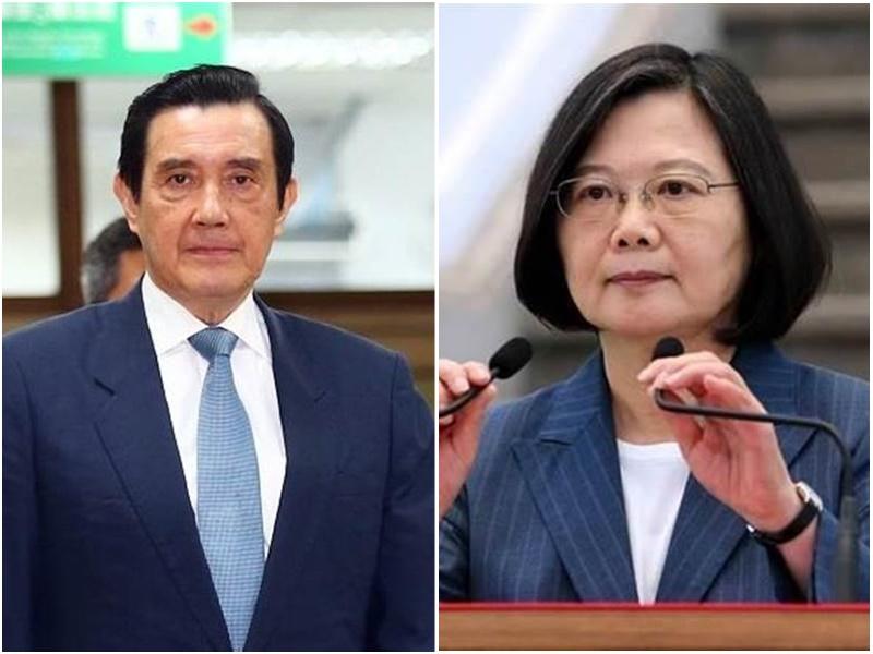 台灣馬英九(左)批評蔡英文雙重標準。網上圖片