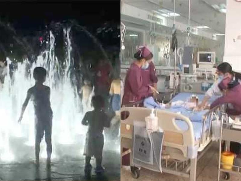 女童被噴泉衝上9米高空跌落,身體及多處內臟受損。(網圖)