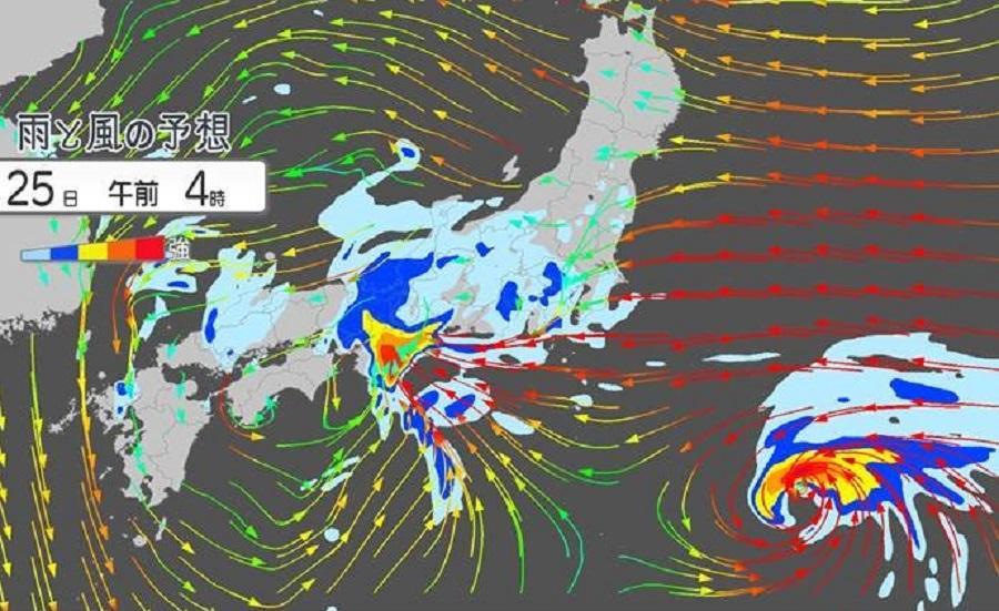 日本一个低气压带来大雨。日本气象协会图片