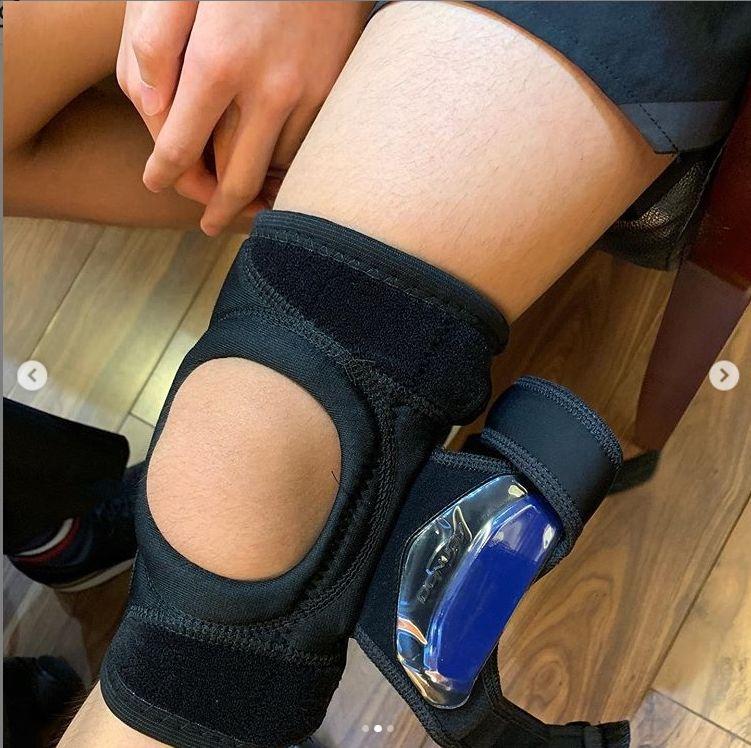 栢芝表示兒子要戴護膝6個星期。
