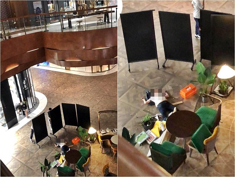女子跌落在商場地下中庭位置。讀者提供