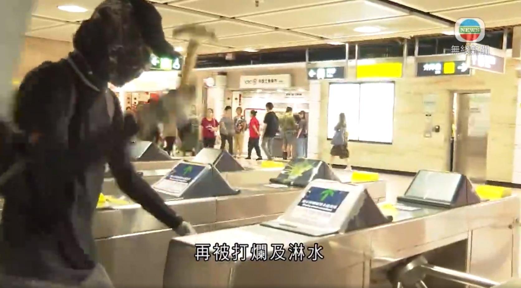 沙田站被人破壞。TVB新聞截圖