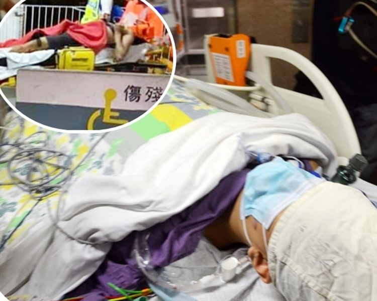 科大生失足墮下1層樓的停車場,在伊利伯醫院搶救。小圖為網圖