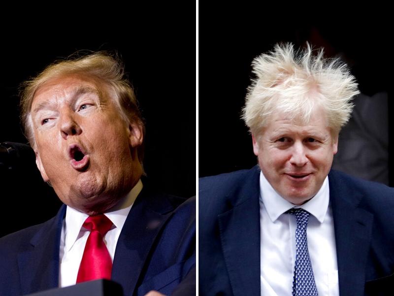 特朗普再次公然介入英國大選,重申他支持約翰遜連任首相。 AP