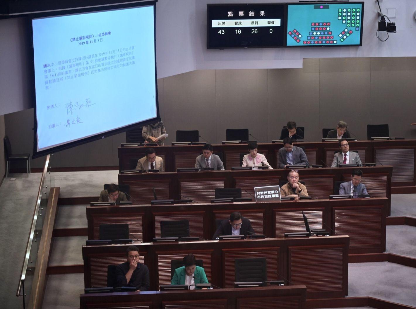 立法會《禁止蒙面規例》小組委員會今早召開會議。