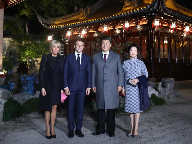 習近平夫婦在上海會見法國總統馬克龍夫婦。(新華社)