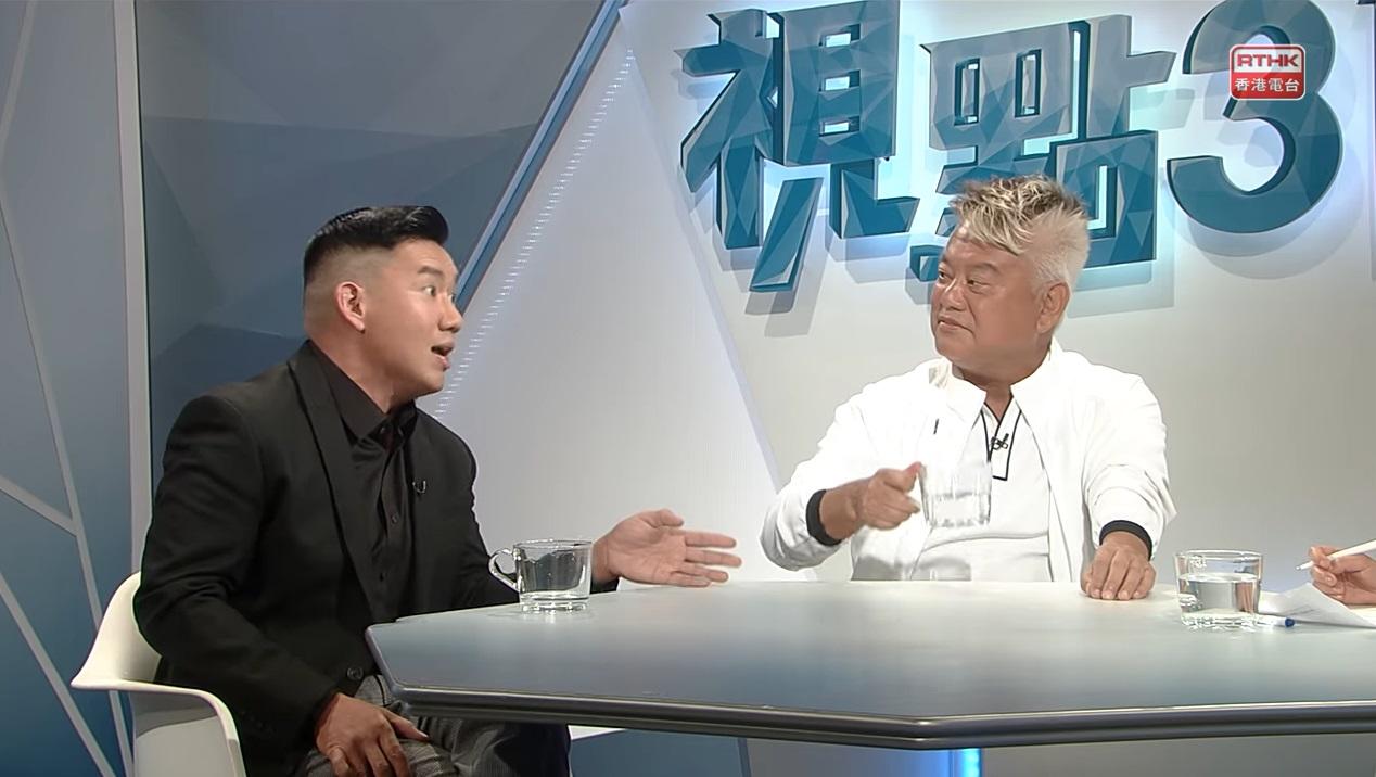 陳百祥和杜汶澤昨日到港台節目《視點31》辯論議題。港台截圖