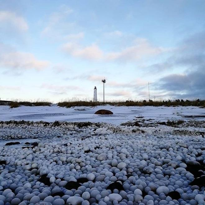芬蘭北部小島海灘上出現奇幻冰球。網上圖片