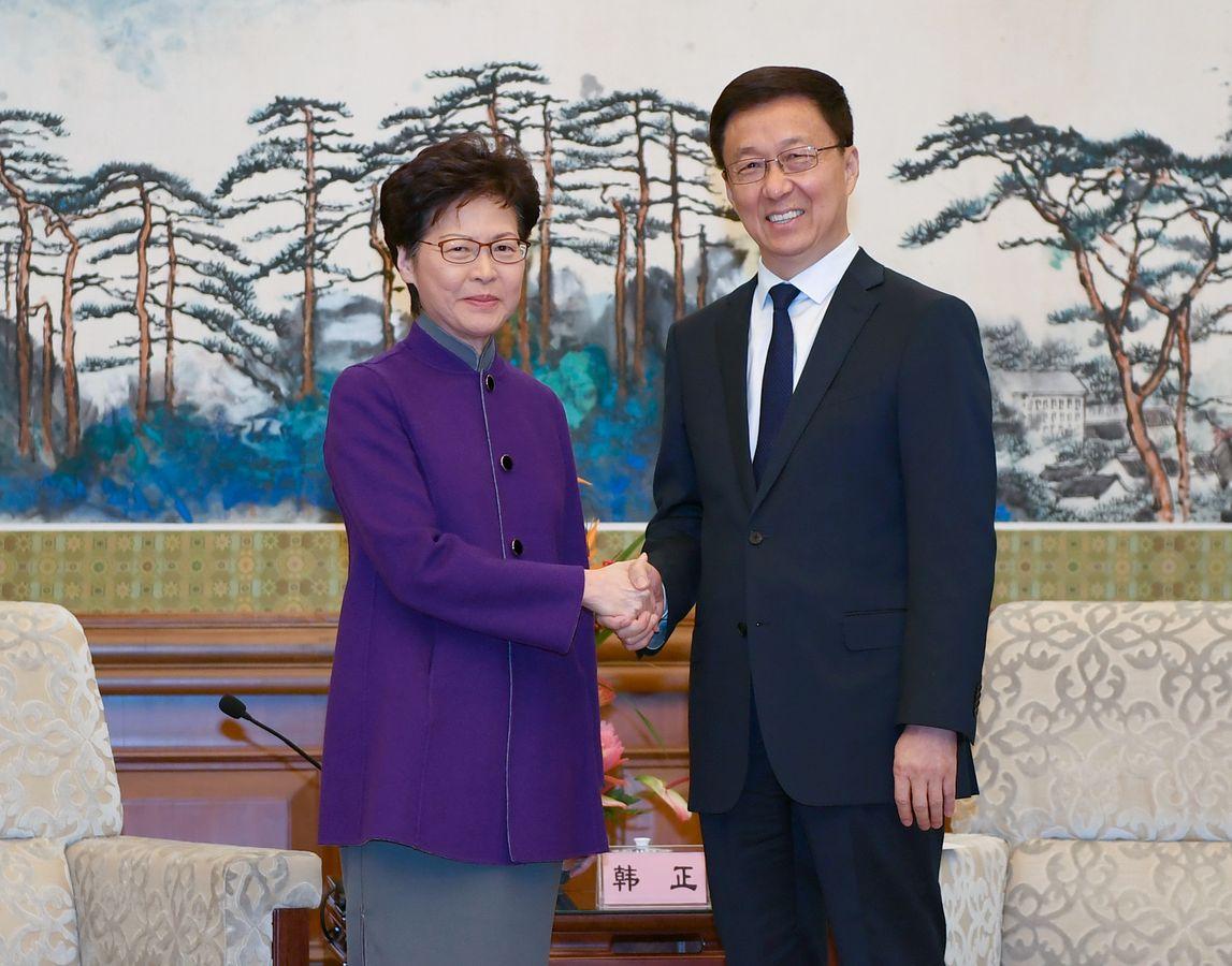 國務院副總理韓正在北京釣魚台國賓館會見林鄭月娥。新華社