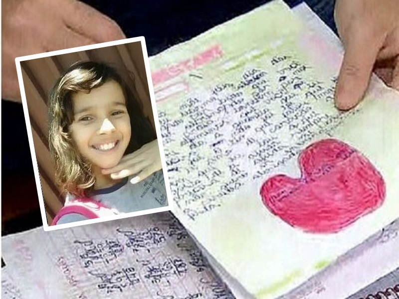 巴西11歲女童Perolla Pires生前所寫下的300頁日記裡,記載著她遭到虐待的過程。網圖
