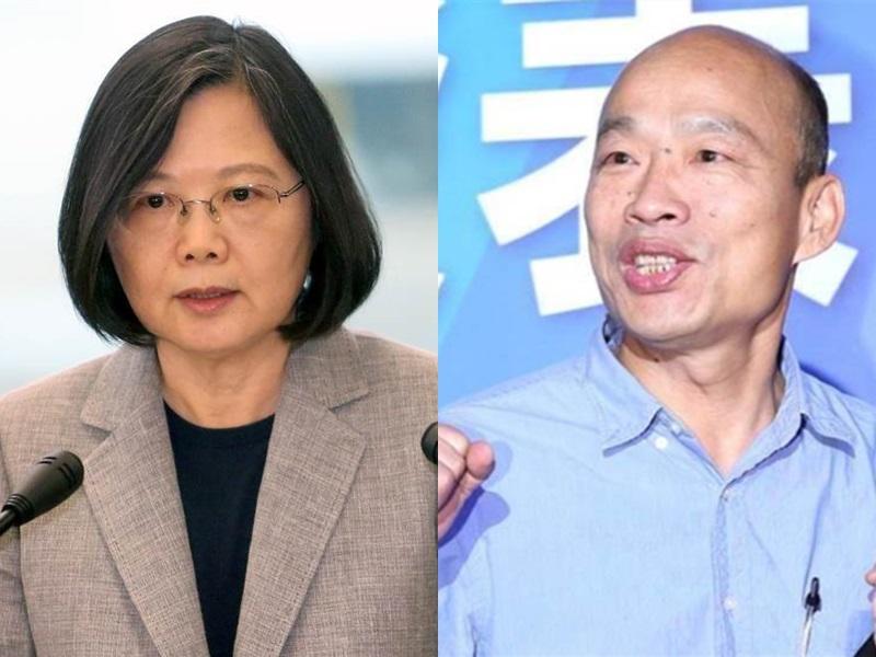 最新民調,韓國瑜的支持度逼近蔡英文。網圖