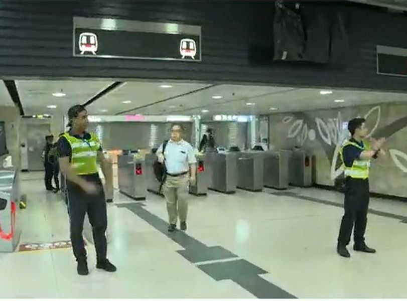 沙田站關閉。NOW截圖